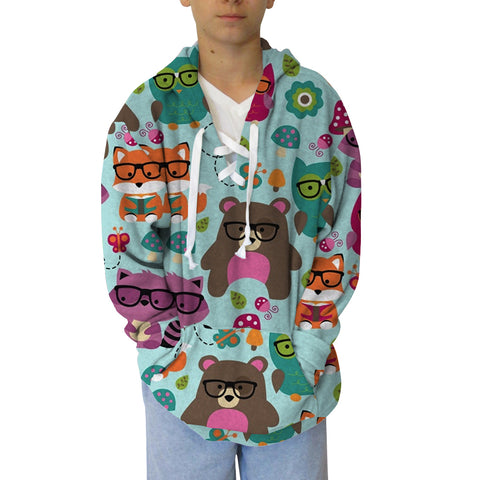 Nerdy Forest Buddies Youth Hooded Top