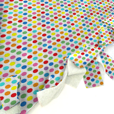 Polka Dots Multi Color Blanket Tie Kit
