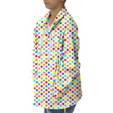 Polka Dots Multi Color Adult Collared Top