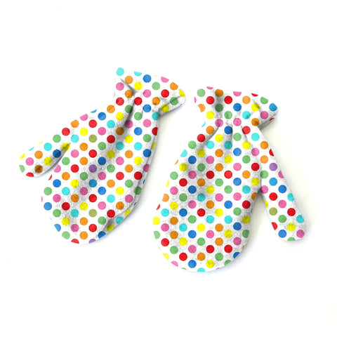 Polka Dots Multi Color Mitten - Double Sided