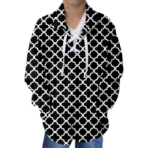 Quatrefoil Black Adult Collared Top