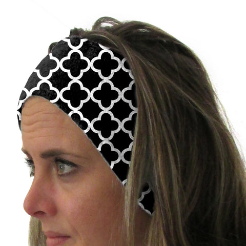 Quatrefoil Black Youth and Adult Head Band