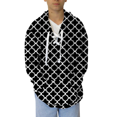 Quatrefoil Black Youth Hooded Top