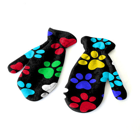 Multi Color Paws Mitten - Double Sided