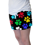 MULTI COLOR PAWS WOMENS SHORT SHORT
