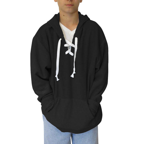 Solid Black Adult Hooded Top