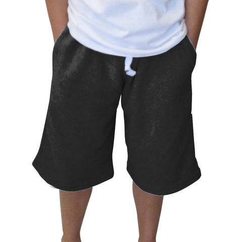 Solid Black Youth Knee Length Short