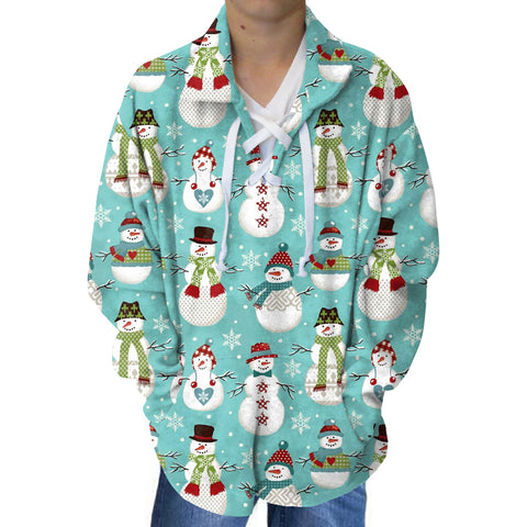 Winter Snowmen Youth Collared Top