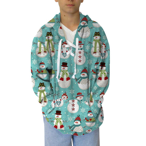 Winter Snowmen Youth Hooded Top