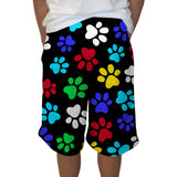MULTI COLOR PAWS YOUTH KNEE LENGTH SHORT