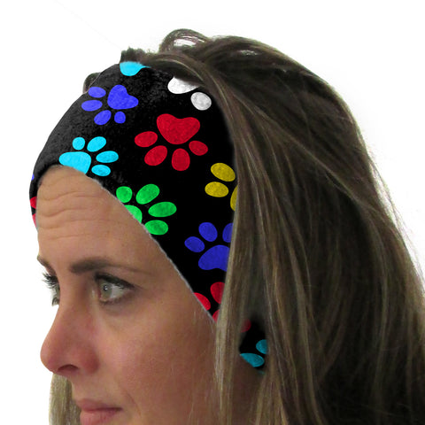 Multi Color Paws Youth and Adult Head Band
