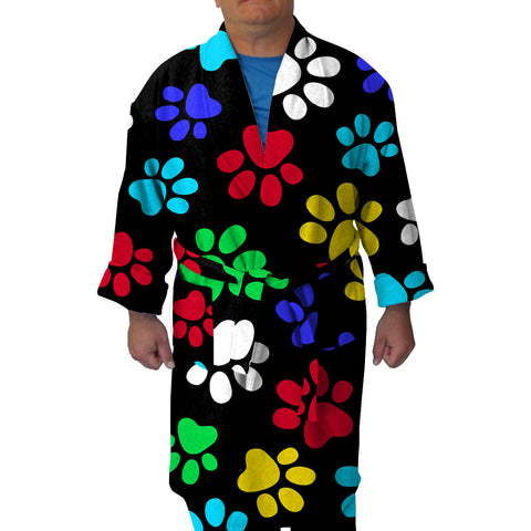 Multi  Color Paws Youth And Adult Robe