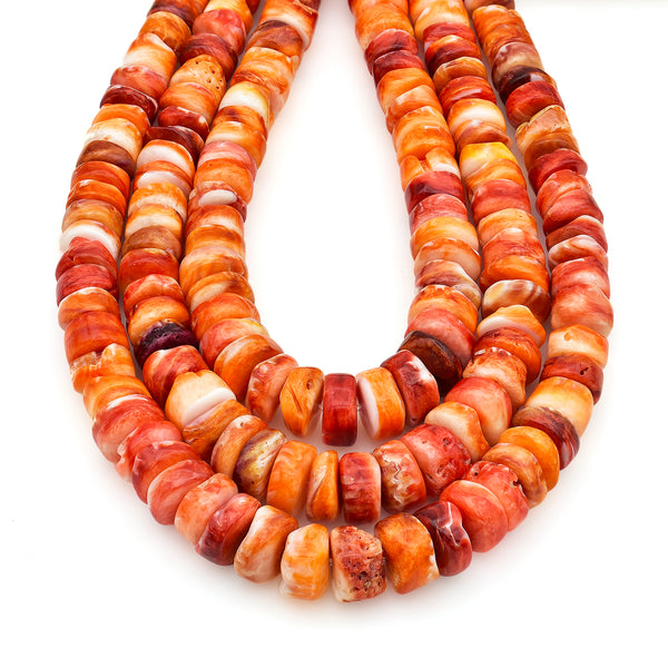Bluejoy 7mm-10mm Genuine Native American Style Natural Spiny Oyster Shell Graduated Free-Form Disc Bead 16-inch Strand