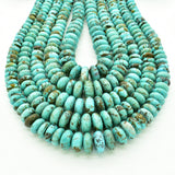 Genuine Natural American Turquoise Graduated Roundel Bead 16 inch Strand (5mm-12mm)