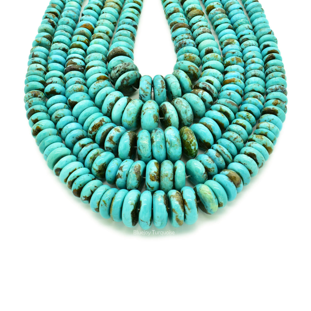 Genuine Natural American Turquoise Graduated Button Bead 16 inch Strand (5-13mm)