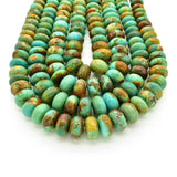 Genuine Natural American Turquoise Graduated Roundel Bead 16 inch Strand (8mm-14mm)