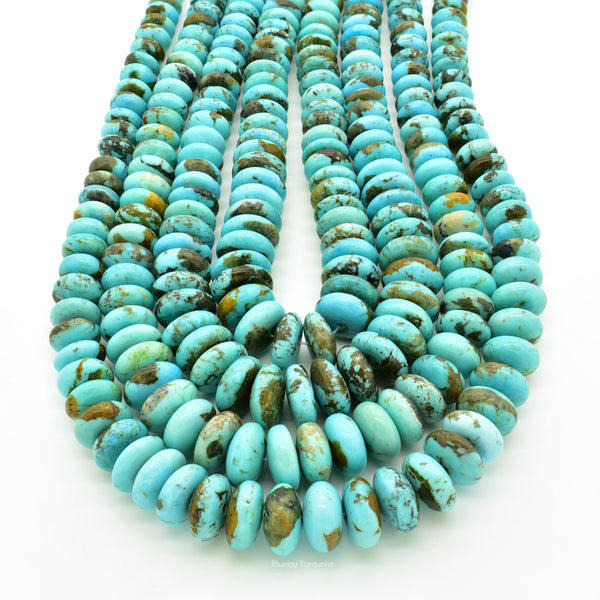 Genuine Natural American Turquoise Graduated Roundel Bead 16 inch Strand (8mm-12mm)