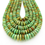 Genuine Natural American Turquoise Graduated Roundel Bead 16 inch Strand (4mm-10mm)