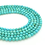 Genuine Natural American Turquoise Round Bead 16 inch Strand (5.5mm)