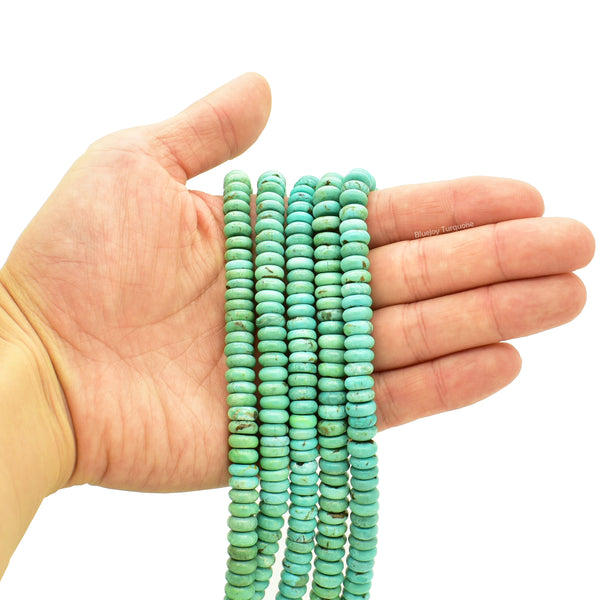 Genuine Natural American Turquoise Button Bead 16 inch Strand (8mm)