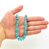 Genuine Natural American Turquoise Graduated Roundel Bead 16 inch Strand (3mm-10mm)