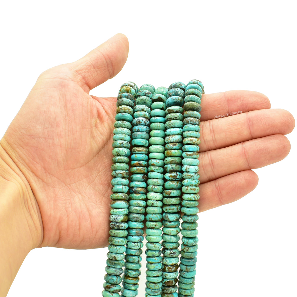 Genuine Natural American Turquoise Button Bead 16 inch Strand (10mm)