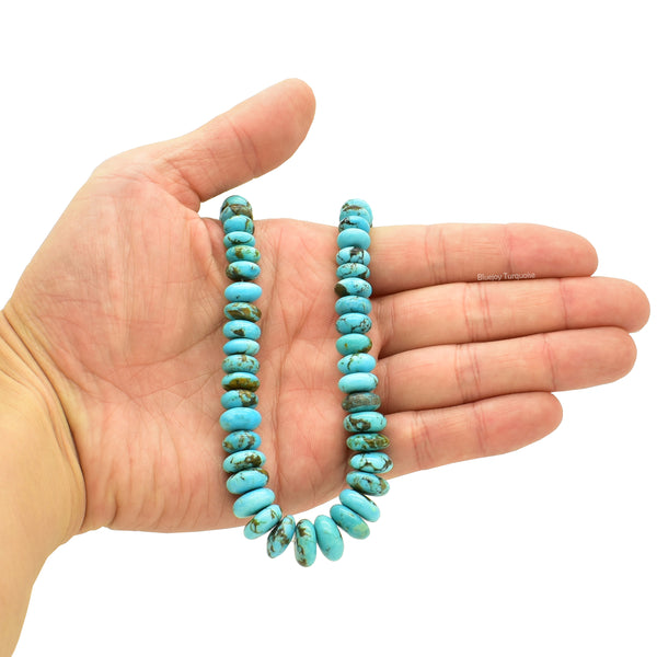 Genuine Natural American Turquoise Graduated Roundel Bead 16 inch Strand (6mm-12mm)