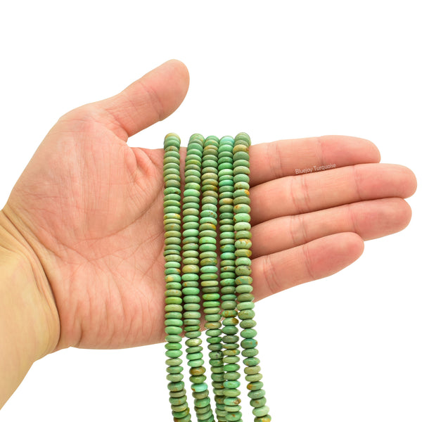 Genuine Natural American Turquoise Button Bead 16 inch Strand (7mm)