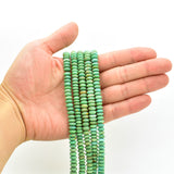 Genuine Natural American Turquoise Green Roundel Bead 16 inch Strand (7mm)