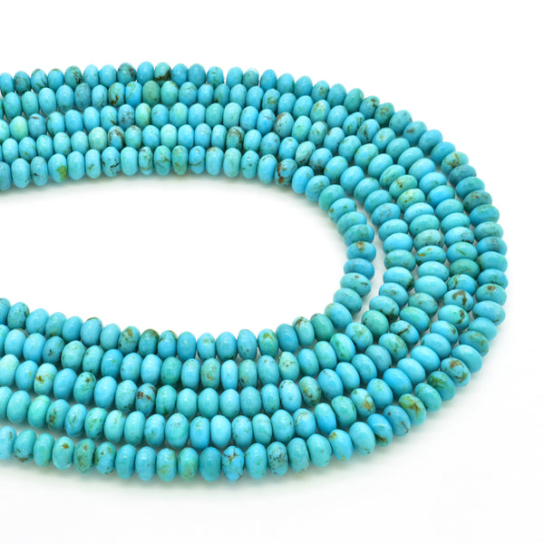 Genuine Natural American Turquoise Blue Roundel Bead 16 inch Strand (4mm)