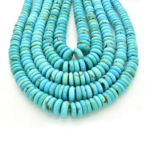 Genuine Natural American Turquoise Graduated Button Bead 16 inch Strand (5-11mm)