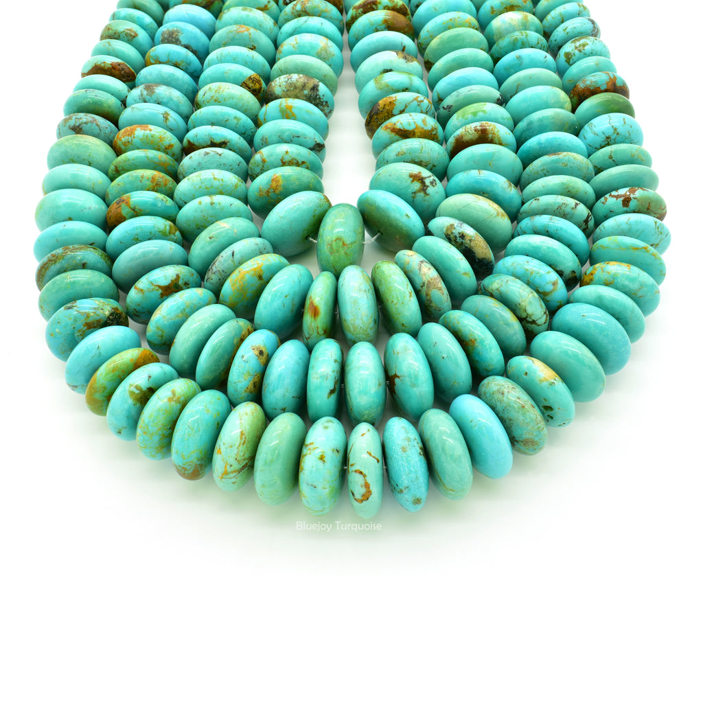 Genuine Natural American Turquoise Graduated Roundel Bead 16 inch Strand (10mm-16mm)