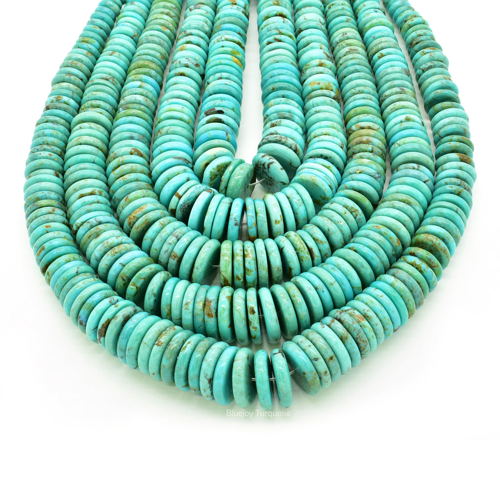 Genuine Natural American Turquoise Graduated Button Bead 16 inch Strand (5-12mm)