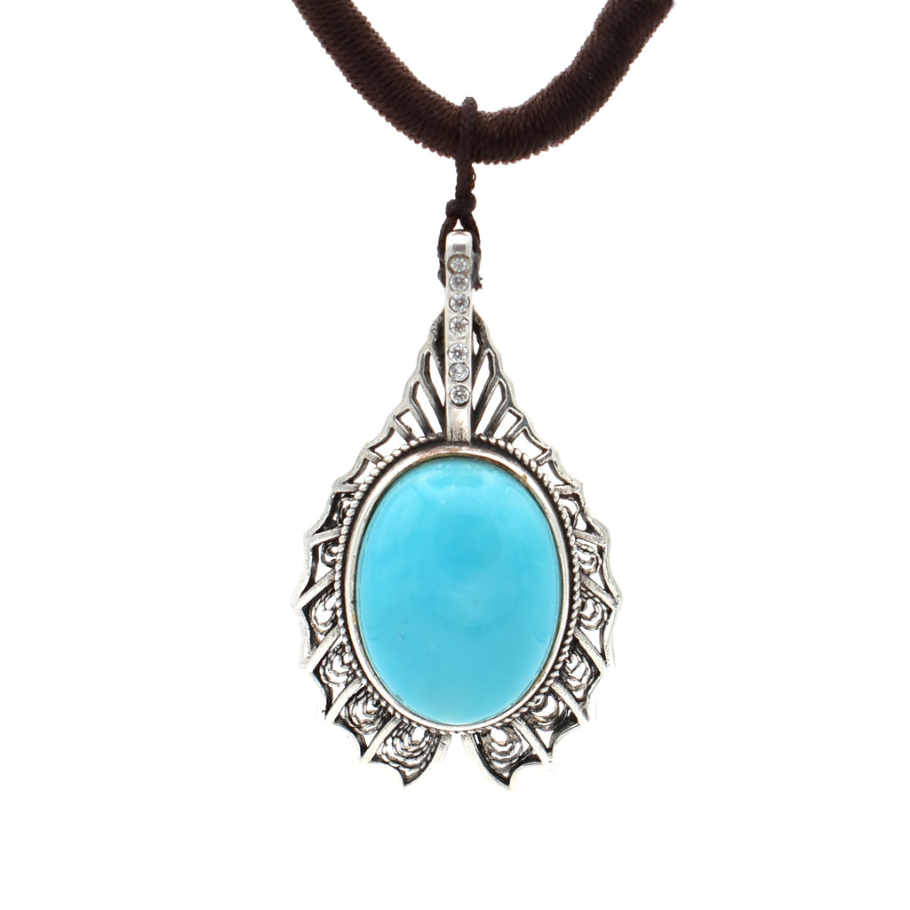 Turquoise Pendant Necklace 19 inch