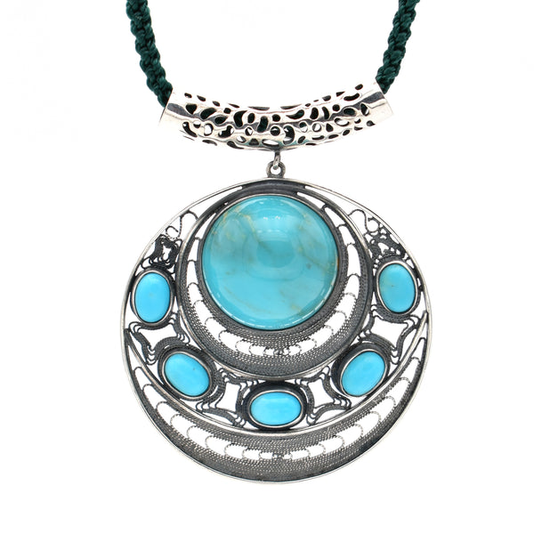 Turquoise Pendant Necklace 23inch