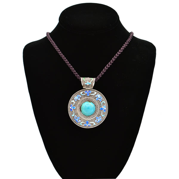 Turquoise Pendant Necklace 24inch