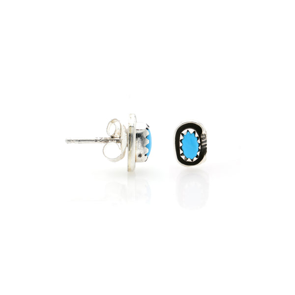 Turquoise Ear Stud 6x8mm