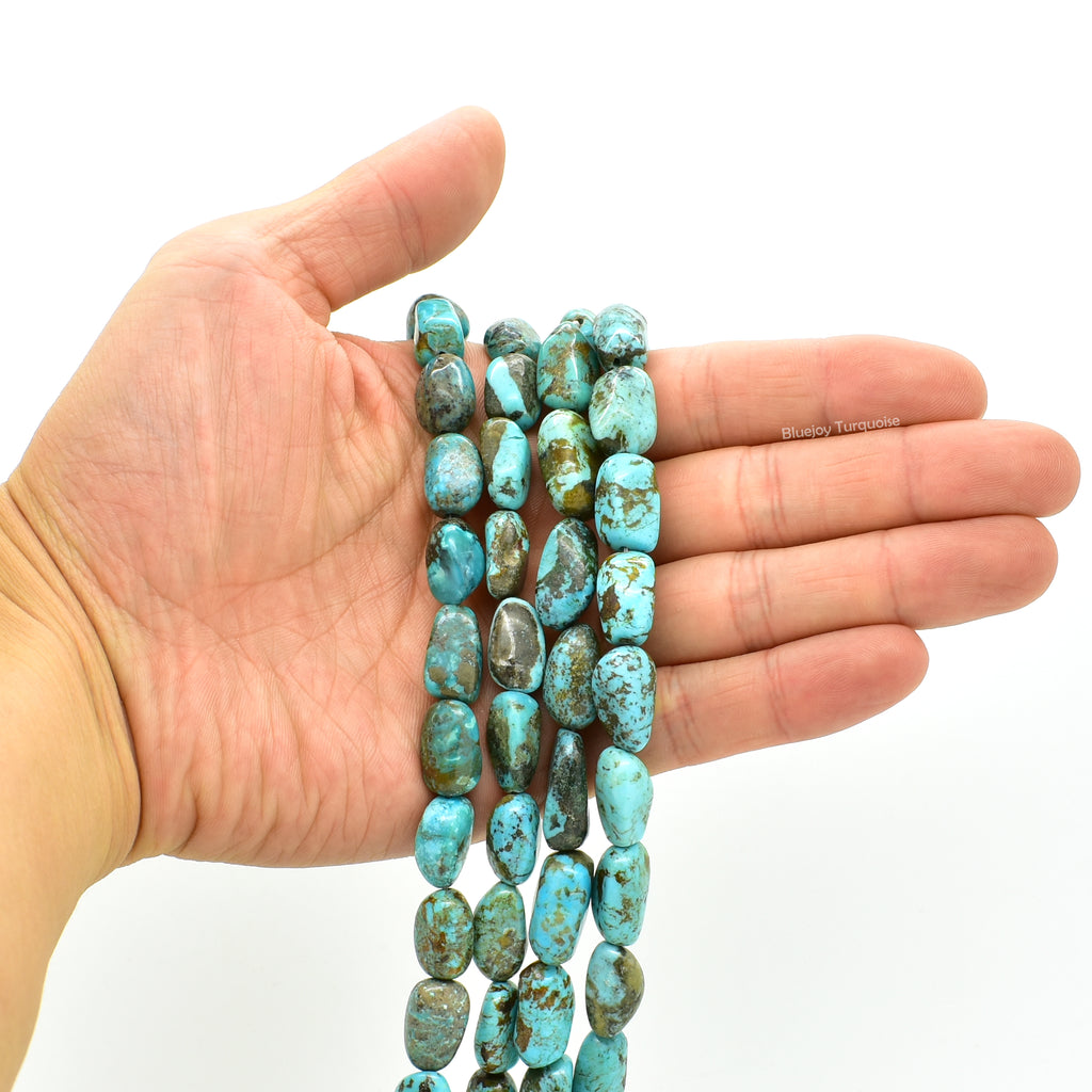 Genuine Natural American Turquoise Nugget Bead 16 inch Strand (10x12mm)
