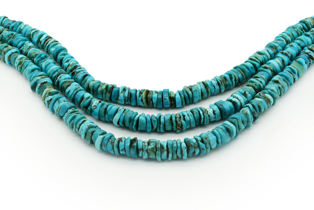 10mm Turquoise Round-Flat Bead, 16'' Strand, A201RB1002