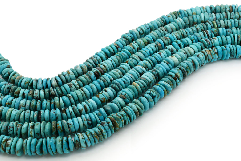 10mm Turquoise Round-Flat Bead, 16'' Strand, A201RB1006