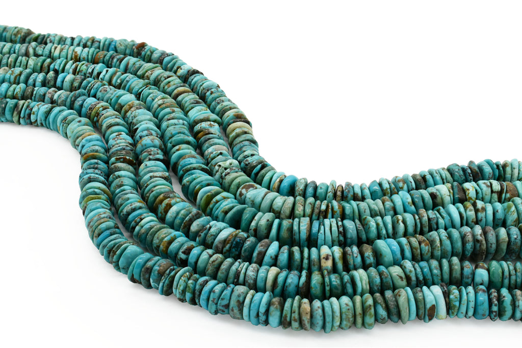 10mm Turquoise Round-Flat Bead, 16'' Strand, A201RB1008