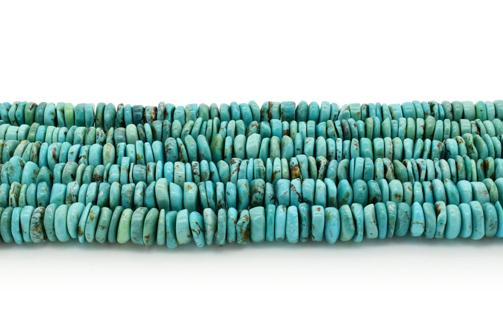 10mm Turquoise Round-Flat Bead, 16'' Strand, A201RB1010