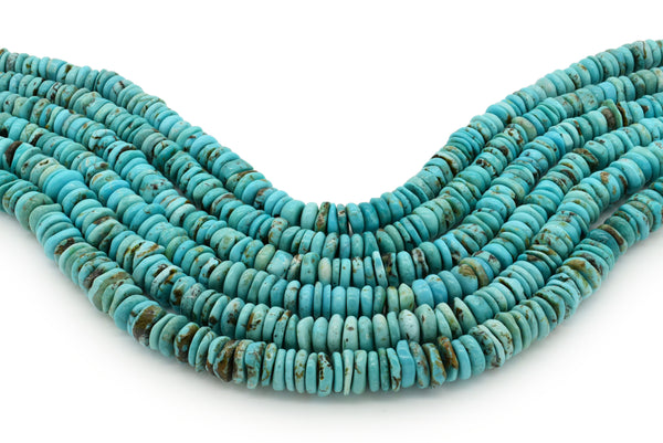 10mm Turquoise Round-Flat Bead, 16'' Strand, A201RB1014