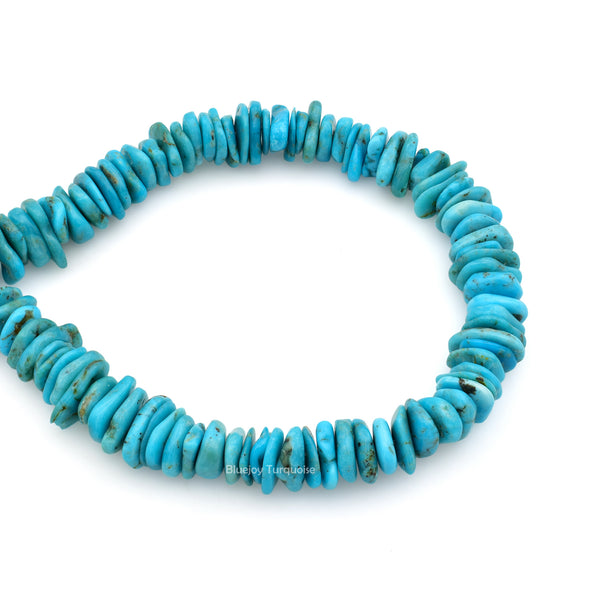 10mm Turquoise Round-Flat Bead, 16'' Strand, A201RB1020