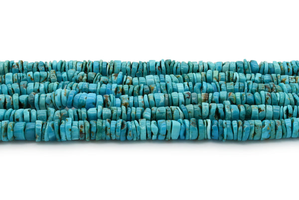 8mm Turquoise Round-Flat Bead, 16'' Strand, A201RB1023
