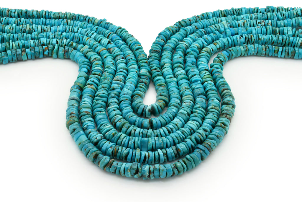 7mm Turquoise Round-Flat Bead, 16'' Strand, A201RB1029