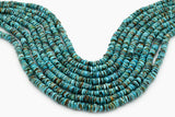 7mm Turquoise Round-Flat Bead, 16'' Strand, A201RB1034