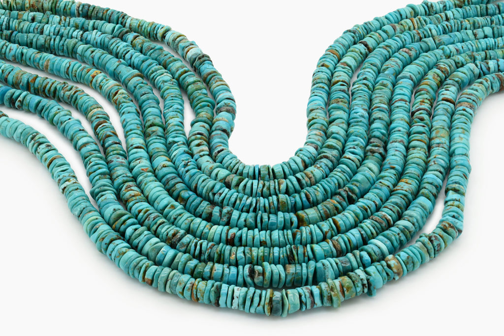 7mm Turquoise Round-Flat Bead, 16'' Strand, A201RB1035