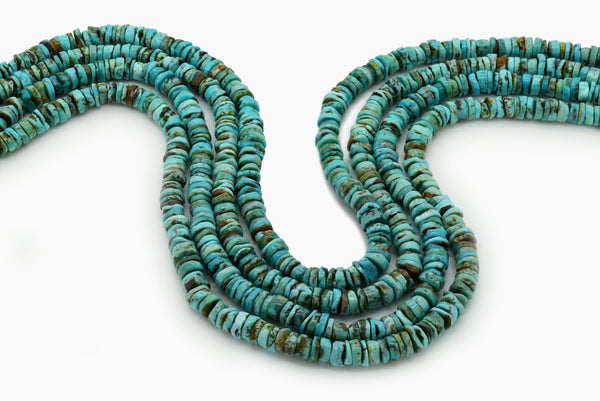 7mm Turquoise Round-Flat Bead, 16'' Strand, A201RB1036