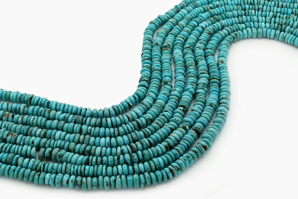 7mm Turquoise Round-Flat Bead, 16'' Strand, A201RB1039